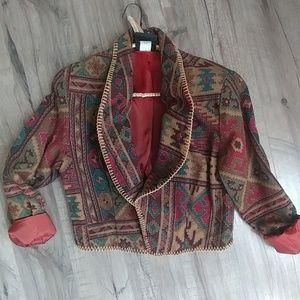 Vintage bohemian Aztec Western Global print jacket